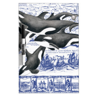 Orca Vintage Map II Dry Erase Whiteboard