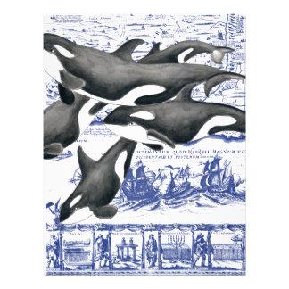 Orca Vintage Map II Personalized Letterhead