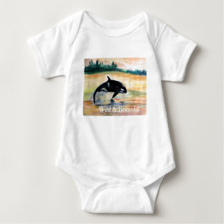 Orca Whale Baby Jersey Bodysuit, White Baby Bodysuit