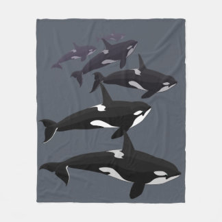 Orca Whale Blanket Killer Whale Fleece Blankets