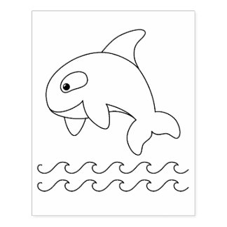 Orca Whale Coloring Page Rubber Stamp