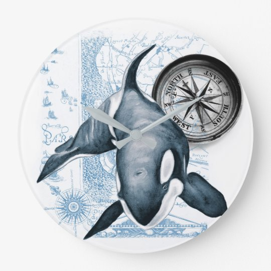 Orca Whale Compass Large Clock