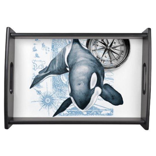 Orca Whale Compass Serving Platters