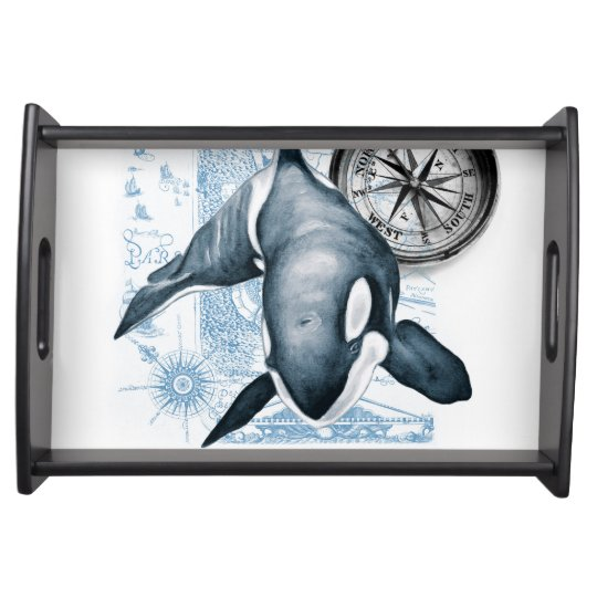 Orca Whale Compass Serving Tray