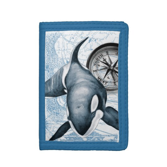 Orca Whale Compass Tri-fold Wallet