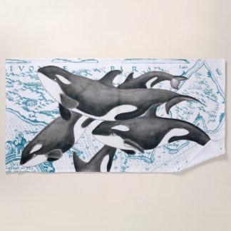 Orca Whale Family Vintage Map Beach Towel