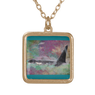 Orca Whale Fantasy Dream - I Love Whales Gold Plated Necklace