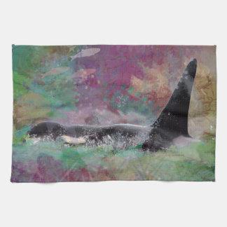 Orca Whale Fantasy Dream - I Love Whales Kitchen Towel