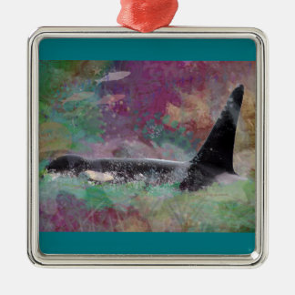 Orca Whale Fantasy Dream - I Love Whales Metal Ornament