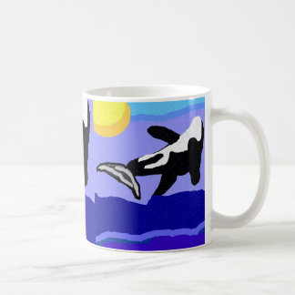 orca whale flippin to the sun mug