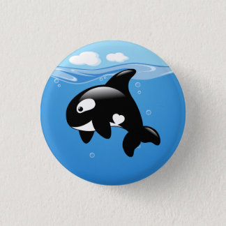 Orca Whale in Ocean 1 Inch Round Button