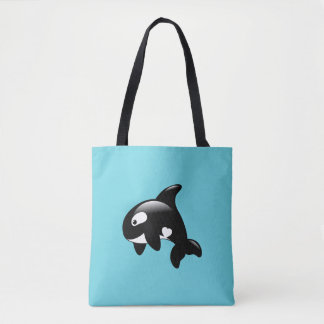 Orca Whale on Aqua Tote Bag