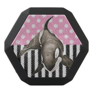 Orca Whale  pink polka dot Black Bluetooth Speaker