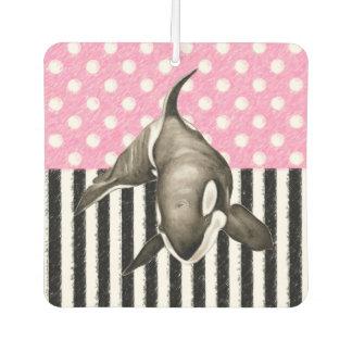 Orca Whale  pink polka dot Car Air Freshener