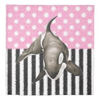 Orca Whale  pink polka dot Duvet Cover