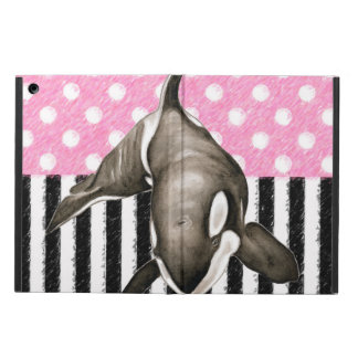 Orca Whale  pink polka dot iPad Air Cover