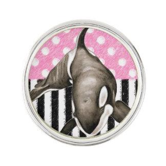 Orca Whale  pink polka dot Lapel Pin