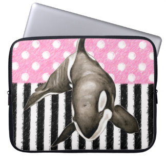 Orca Whale  pink polka dot Laptop Sleeve