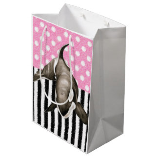 Orca Whale  pink polka dot Medium Gift Bag
