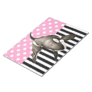 Orca Whale  pink polka dot Notepad