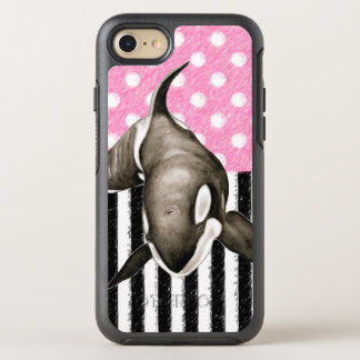 Orca Whale  pink polka dot OtterBox Symmetry iPhone 8/7 Case