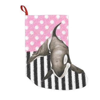 Orca Whale  pink polka dot Small Christmas Stocking