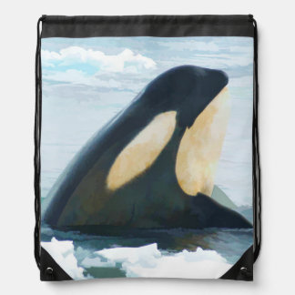 Orca Whale Spyhop blue Drawstring Bag