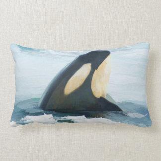 Orca Whale Spyhop blue Lumbar Pillow