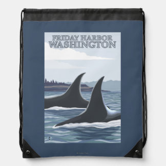 Orca Whales #1 - Friday Harbor, Washington Drawstring Bags