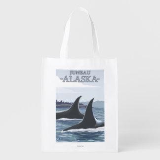 Orca Whales #1 - Juneau, Alaska Reusable Grocery Bags