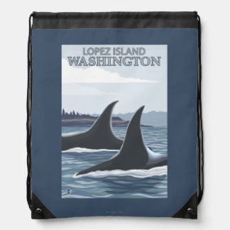 Orca Whales #1 - Lopez, Washington Drawstring Backpack
