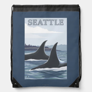 Orca Whales #1 - Seattle, Washington Cinch Bag
