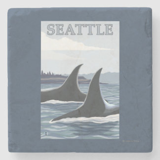 Orca Whales #1 - Seattle, Washington Stone Coaster