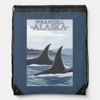 Orca Whales #1 - Wrangell, Alaska Drawstring Backpacks