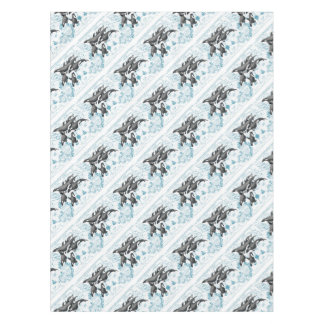 Orca  whales ancient blue tablecloth