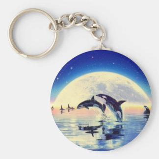 Orca Whales Basic Round Button Keychain
