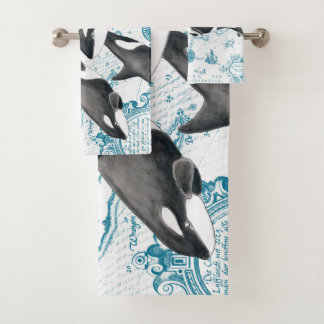 Orca whales family ancient blue bath towel set