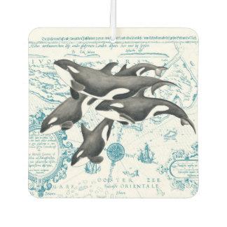 Orca whales family ancient blue car air freshener