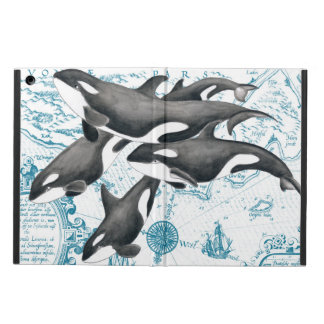 Orca whales family ancient blue cover for iPad air