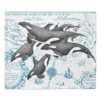 Orca whales family ancient blue duvet cover
