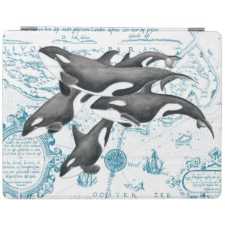 Orca whales family ancient blue iPad cover