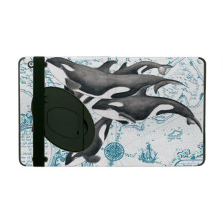 Orca whales family ancient blue iPad folio case