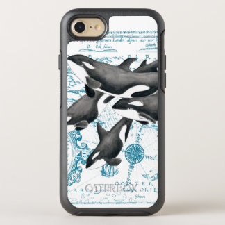 Orca whales family ancient blue OtterBox symmetry iPhone 8/7 case