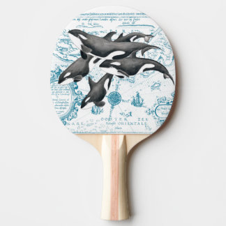 Orca whales family ancient blue ping pong paddle