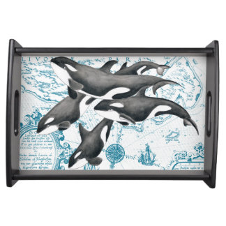 Orca whales family ancient blue serving tray