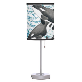 Orca whales family ancient blue table lamp