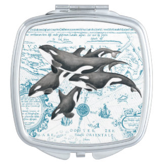 Orca whales family ancient blue travel mirror