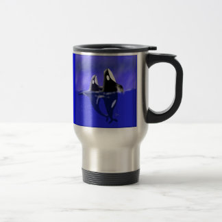 Orca Whales Spy Hopping Stainless Steel Travel Mug