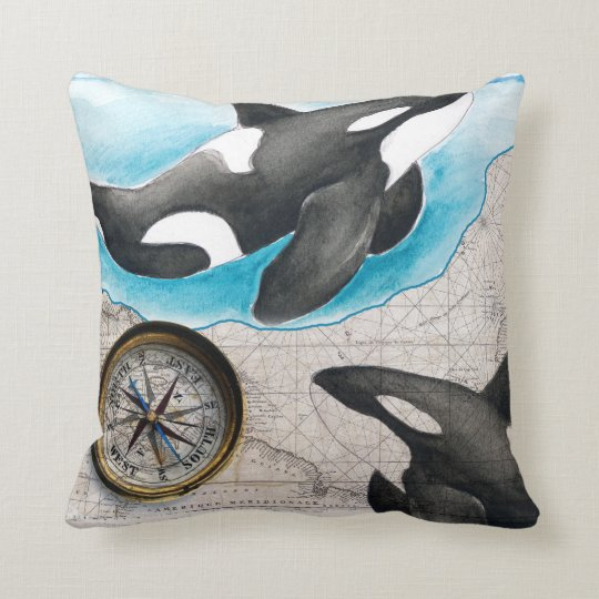 Orcas Map Throw Pillow