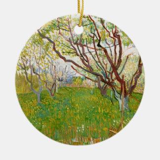Orchard in Bloom Vincent van Gogh  fine art Round Ceramic Ornament